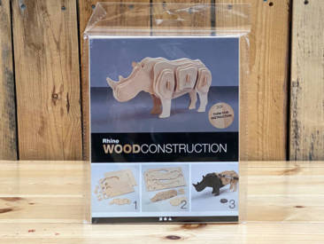 3D-Selbstbau-Holz-Puzzle in Form eines Nashorns.