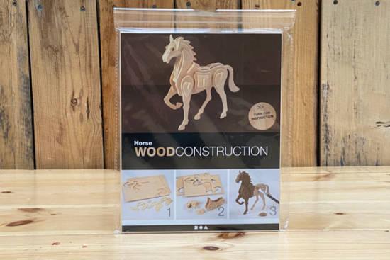 3D-Selbstbau-Holz-Puzzle in Form eines Pferdes.