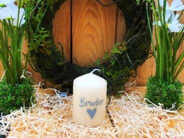 """Kerze mit der Botschaft """"Bruderherz"""". Eine tolle Geschenkidee für jede Gelegenheit."""