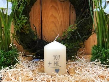 """Kerze mit der Botschaft """"You and Me"""". Eine tolle Geschenkidee für jede Gelegenheit."""